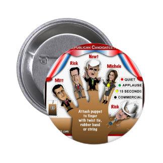 5 GOP Finger Puppets Pinback Button