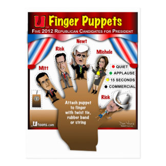 5 GOP Finger Puppets Postcard