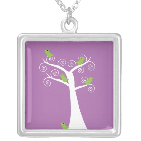 5 green birds in a white tree purple  necklace