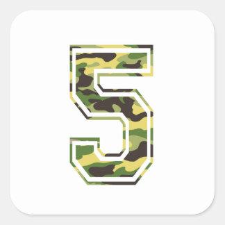 #5 Green & Yellow Camo Square Sticker