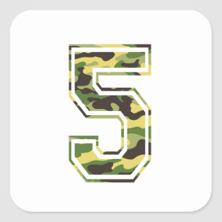 #5 Green & Yellow Camo Square Sticker