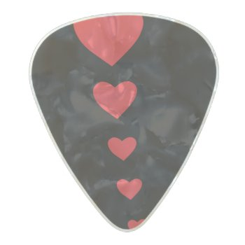 5 Hearts Pearl Celluloid Guitar Pick by yumedemade at Zazzle