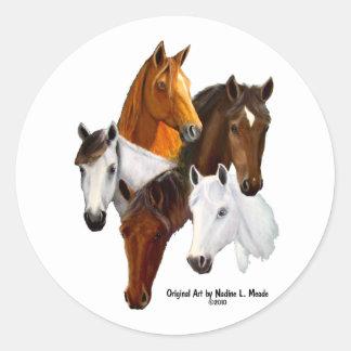 5 Horse Heads Classic Round Sticker