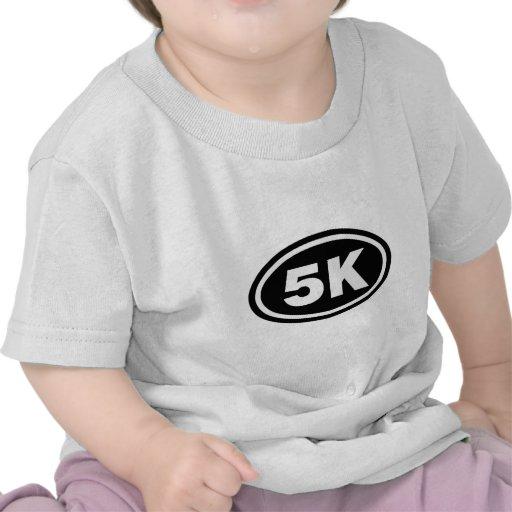 5 K Runner Black Oval T Shirts