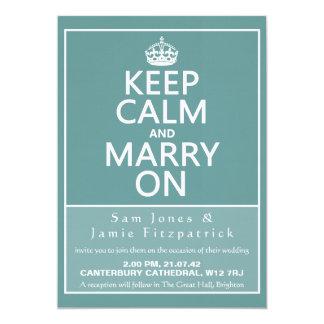 "5"" Keep Calm and Marry On Wedding Invitation"