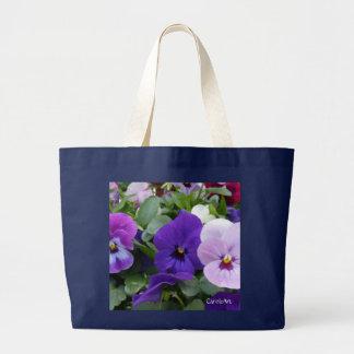 5 Lavender Purple Blue Pansy Tote Bags