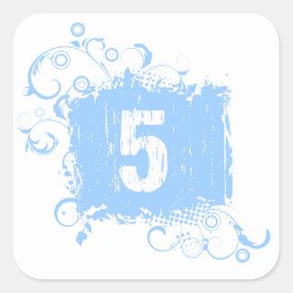 #5 Light Blue Grunge Square Sticker