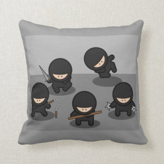5 Little Cartoon Ninjas Throw Pillow