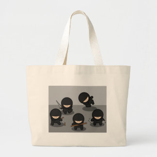 5 Little ninjas Large Tote Bag
