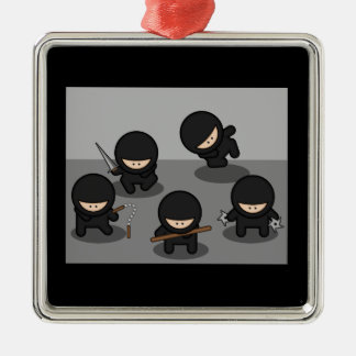 5 Little ninjas Metal Ornament