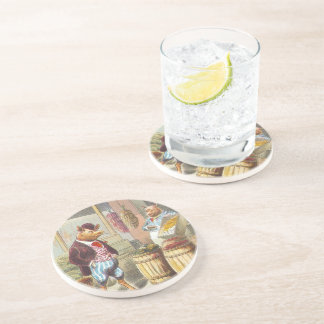 5 Little Pigs: At the Market Drink Coasters