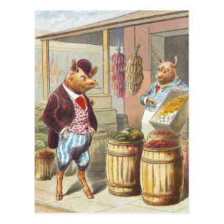 5 Little Pigs: At the Market Postcard