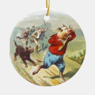 5 Little Pigs: It Cried Wee Wee Ceramic Ornament