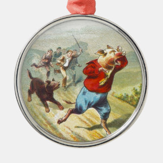 5 Little Pigs: It Cried Wee Wee Metal Ornament