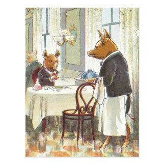 5 Little Pigs: The Roast Beef Pig Postcard