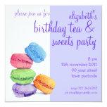 "5 Macarons Birthday Invitation 5.25"" Square Invitation Card"