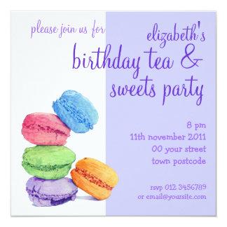 5 Macarons Birthday Invitation