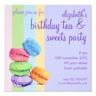 5 Macarons stripes Birthday Invitation
