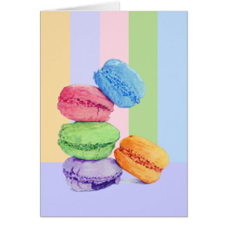 5 Macarons stripes Card