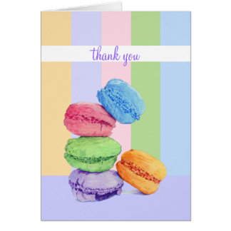 5 Macarons stripes Thank You Note Card
