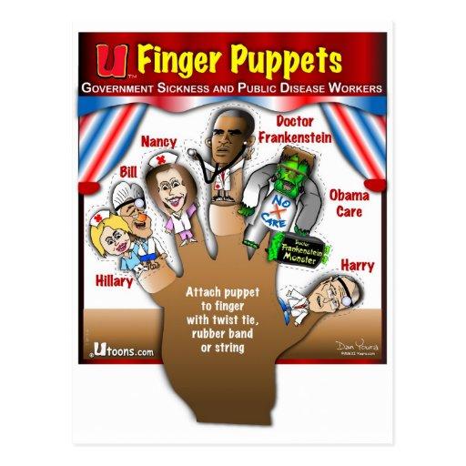 5 marionetas del dedo de Demócrata Tarjeta Postal