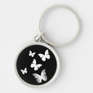 5 mariposas blancas llavero redondo plateado