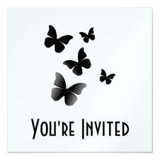 "5 mariposas negras invitación 5.25"" x 5.25"""