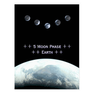 5 Moonphase Earth in Space Postcard