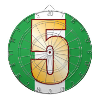 5 NIGERIA Gold Dartboard With Darts
