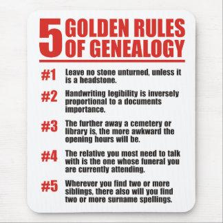 5 normas de oro de genealogía alfombrilla de ratón