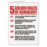 5 normas de oro de genealogía tarjeta