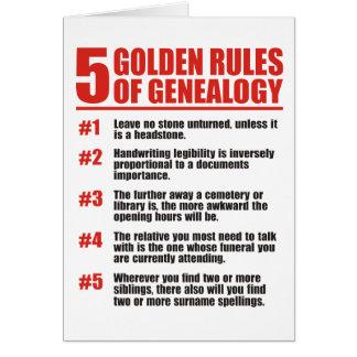 5 normas de oro de genealogía tarjeta de felicitación