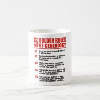 5 normas de oro de genealogía taza básica blanca