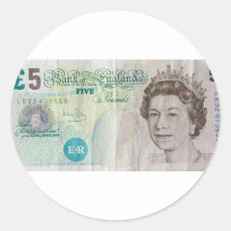 £5 note - horizontal classic round sticker