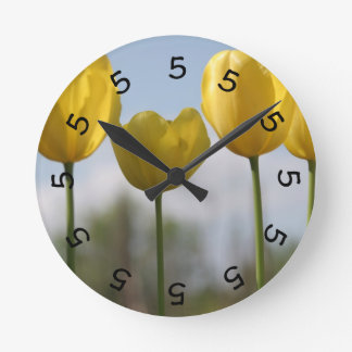 5 o'clock Yellow Tulips Wall Clock
