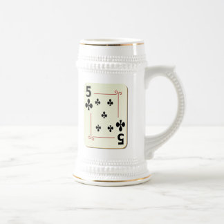 5 of Clubs Playing Card Beer Stein