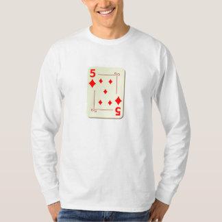 5 of Diamonds Playing Card T-Shirt