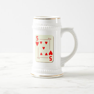 5 of Hearts Playing Card Beer Stein