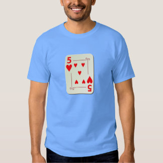 5 of Hearts Playing Card T-shirt