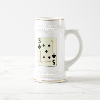 5 of Spades Playing Card Beer Stein