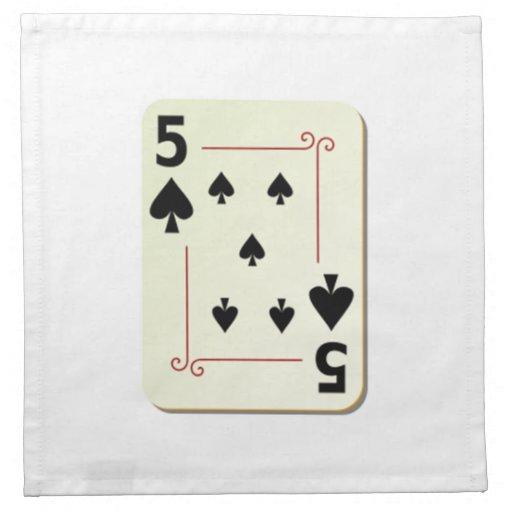 5 of Spades Playing Card Printed Napkin