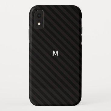 5 Option Modern Monogram Black Stripes iPhone XR Case
