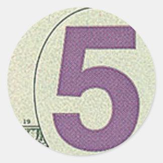 5 pegatinas redondos del billete de dólar pegatina redonda