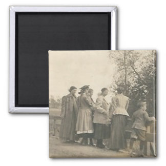 5 people overlooking bridge 2 inch square magnet