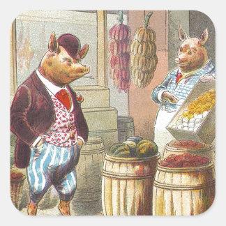 5 pequeños cerdos: En el mercado Pegatina Cuadrada