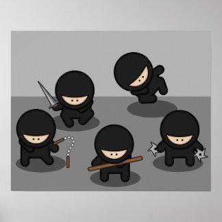 5 pequeños ninjas póster