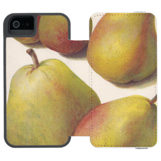 5 peras del vintage ilustradas funda billetera para iPhone 5 watson