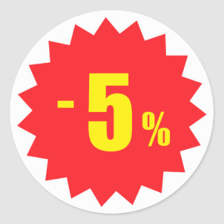 5 percent sale discount stickers, white and red classic round sticker