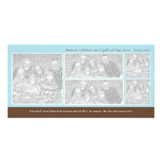 5 Photo Blue and Brown Montage Birth Annoucement Photo Card