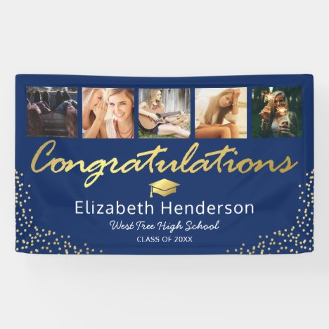 5 Photo Blue Gold Graduation Party Banner